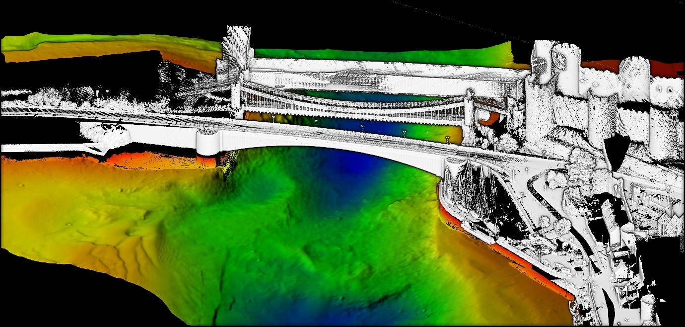 Conway quay wall, Conway bridge and Cob surveyed using the Accesion 350 USV, SONIC 2024, Apogee Navsight and Merlin Laser